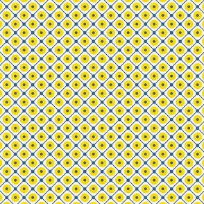 Talavera - Half Inch Blue Grid with Large Yellow Dots