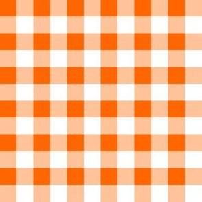 Half Inch Orange and White Gingham Check