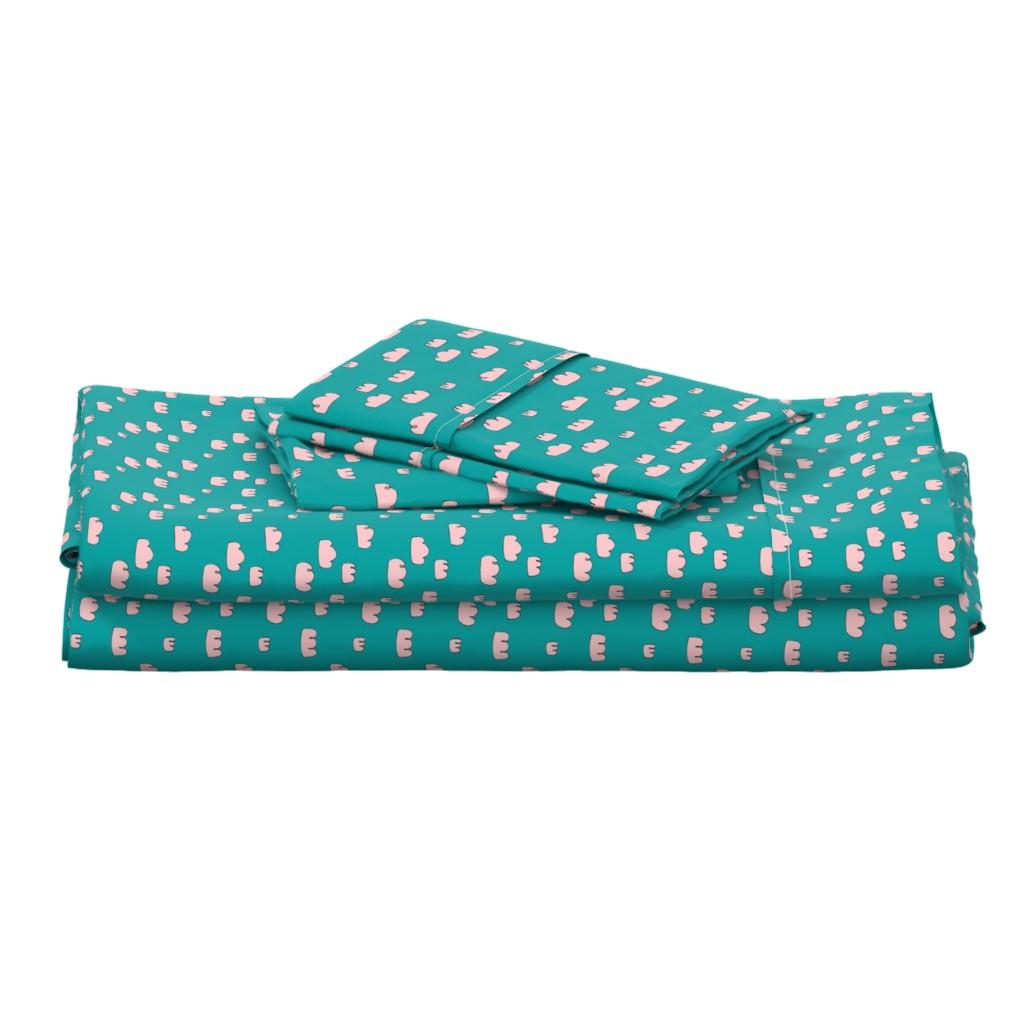 Langshan Full Bed Set featuring clouds mini aqua sky by ali*b
