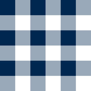 Two Inch Navy Blue and White Gingham Check