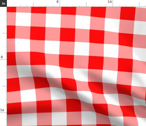 Fabric By The Yard Two Inch Red And White Gingham Check