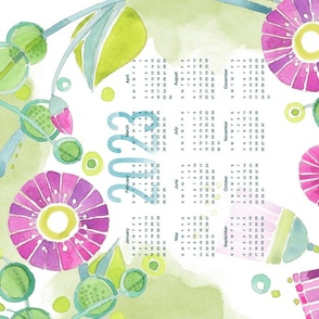 Sweet Watercolor Blooms 2021 Tea Towels-PurpleHappy