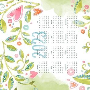 Sweet Watercolor Blooms 2021 Tea Towels-Vines