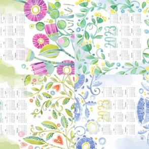 Sweet Watercolor Blooms 2021 Tea Towels group