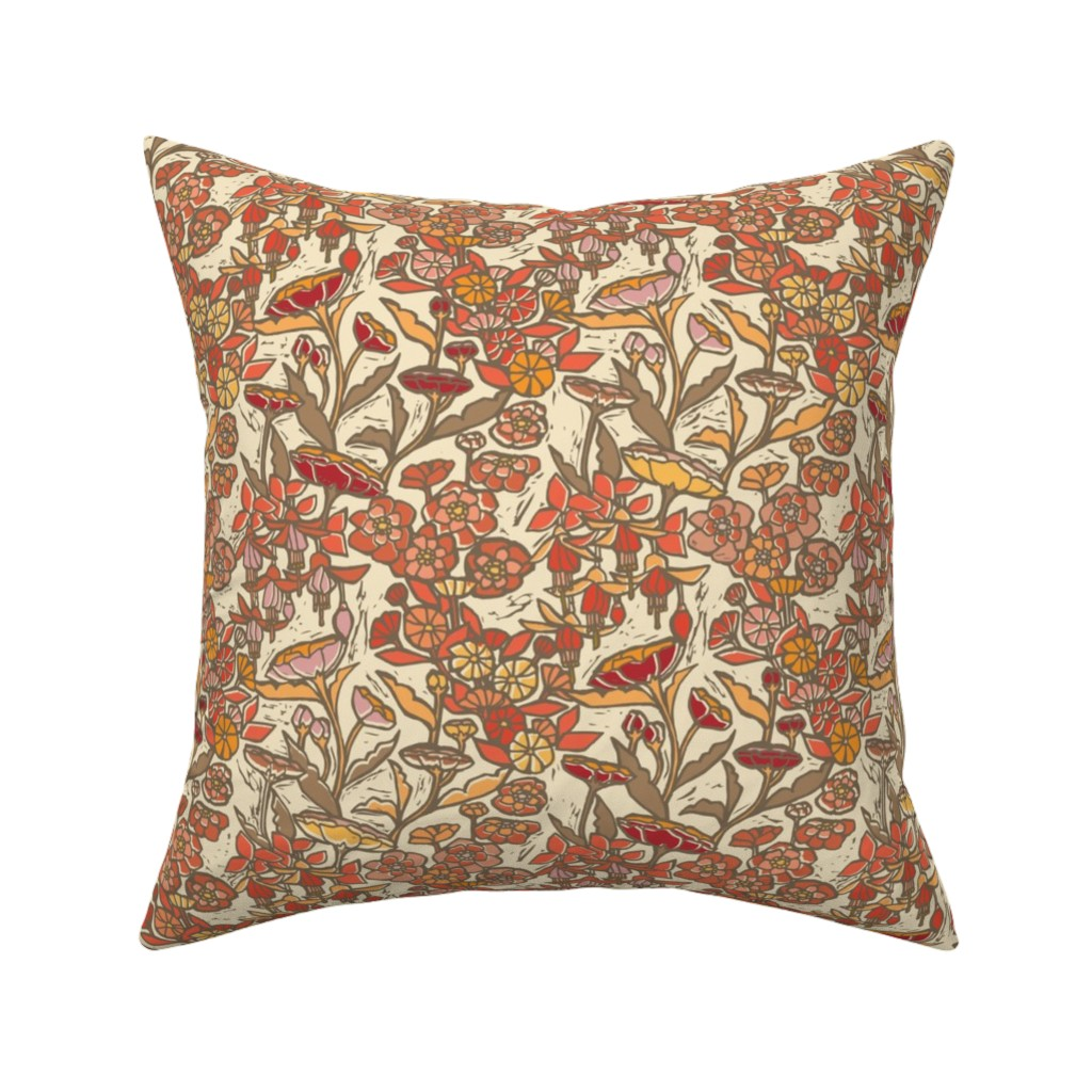 Catalan Throw Pillow featuring Woodcut Garden {Orange Blossom} by ceciliamok