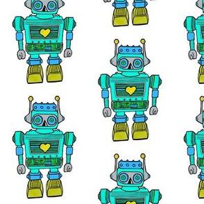 Teal-green smaller size robot