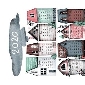 Cozy little town. Tea towel 2020 calendar.