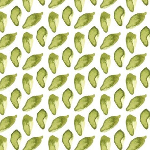 Green Watercolor Leaves || Plant leaf olive grass white _ Miss Chi