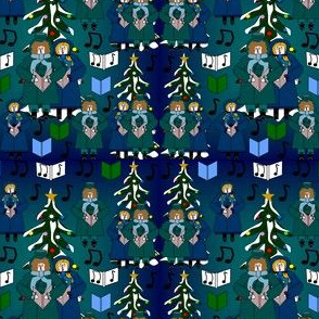Christmas Carolers Bah Carols Harpo and Caroling Gertie and Fabric Collection