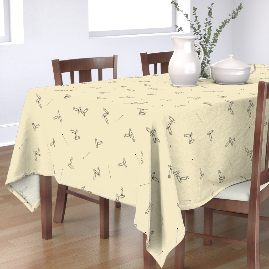 Bantam Rectangular Tablecloth featuring Safety Pins and Needles, Sewing Tools, Laundry, Craft Room or Nursery Print by galleryinthegardendesigns