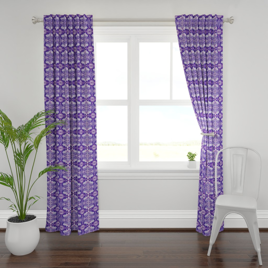 Plymouth Curtain Panel featuring Latin Tile Purple by creative_spaces