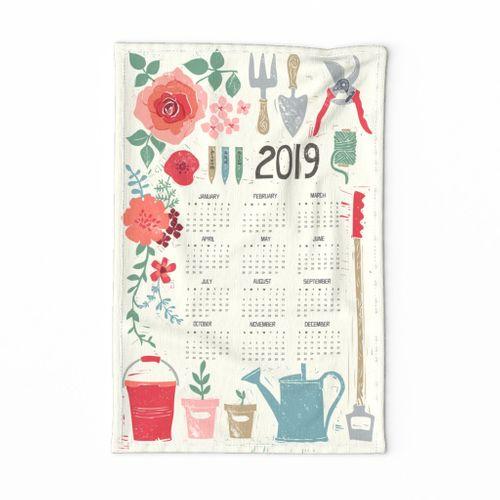 BLOOM & GROW 2019 CALENDAR TEA TOWEL