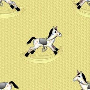 Rocking Horses on Soft Wasabi Yellow Knit