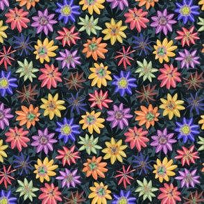 Pattern #77 - Passion Flowers (on dark background) SM