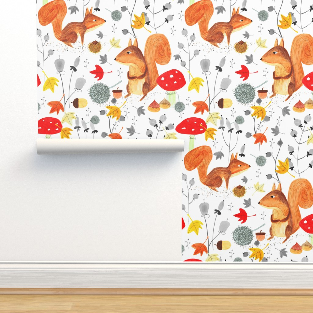 Isobar Durable Wallpaper featuring Pattern #64 - Autumn woodland squirrels by irenesilvino