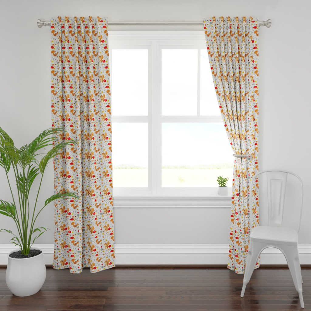 Plymouth Curtain Panel featuring Pattern #64 - Autumn woodland squirrels by irenesilvino