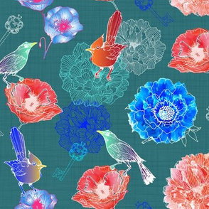 Victorian blooming/ green linen