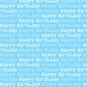 Happy Birthday Type on Blue