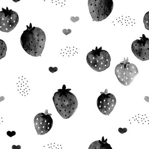 Strawberry monochrome watercolors black and white series abstract fruit illustration ink design
