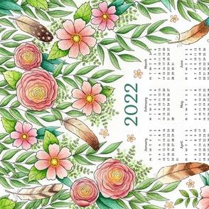 Feathers and Flowers tea towel calendar 2019