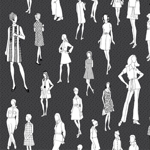 1960's Fashion - Mod Girls of the '60s   Charcoal Dot