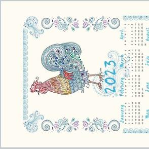 Rooster Tea Towel Calendar 2021