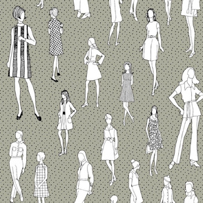 1960's Fashion - Mod Girls of the '60s   Taupe Dot