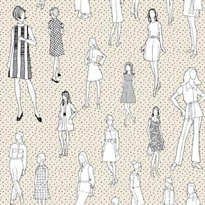 1960's Fashion - Mod Girls of the '60s   Beige Dot