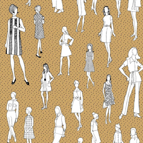 1960's Fashion - Mod Girls of the '60s   Harvest Gold Dot