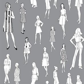 1960's Fashion - Mod Girls of the '60s   Dark Grey