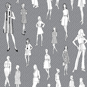 1960's Fashion - Mod Girls of the '60s   Dark Grey Dot