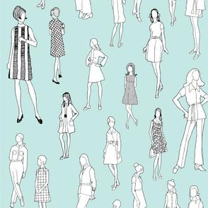 1960's Fashion - Mod Girls of the '60s   Light Blue