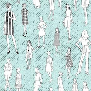 1960's Fashion - Mod Girls of the '60s   Light Blue Dot
