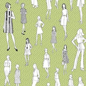 1960's Fashion - Mod Girls of the '60s - Avocado Dot
