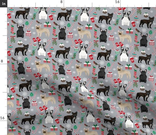 French Bulldog Christmas Stocking.Fabric By The Yard French Bulldog Christmas Fabric Candy Canes Stockings Snowflakes Winter Grey