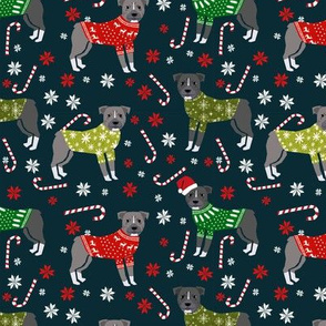 Pitbull Christmas winter sweaters fabric navy