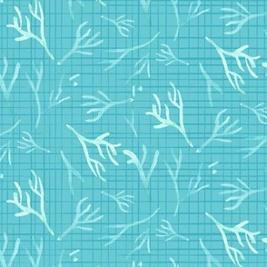 Nautical blue coral || watercolor branches linen texture || sea green turquoise blue ocean water branch teal