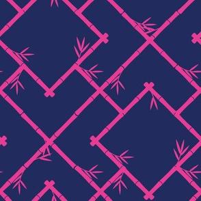 Bamboo Chinoiserie Lattice in Navy + Hot Pink