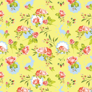 Vintage Easter Bunnies Yellow Floral