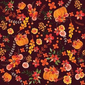 Pumpkin Floral Dark Wine