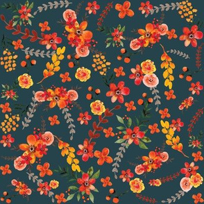 Fall Foral Teal