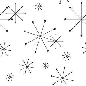 Retro Modern Stars, Black on White, Sparkling Snowflakes