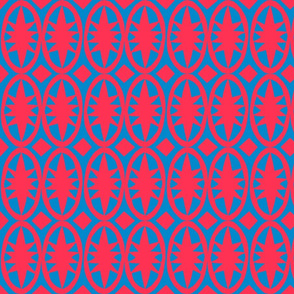 Geometric Acanthus in bright red and blue
