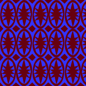 Geometric Acanthus navy and rust  red
