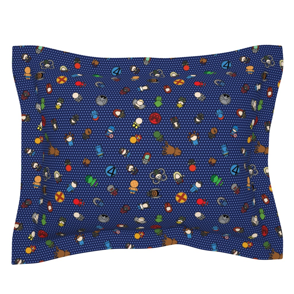 Sebright Pillow Sham featuring Mightiest Heroes - 12 in (blue) by studiofibonacci
