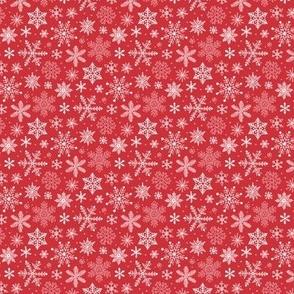 Snowflakes Christmas Holiday Red Tiny Small