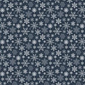 Snowflakes Christmas Holiday on Navy Blue Tiny Small