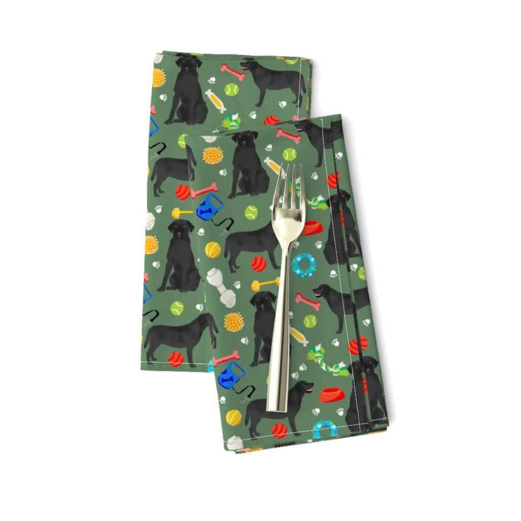 Amarela Dinner Napkins featuring black lab dog fabric cute labrador and toys design - green by petfriendly