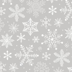Snowflakes Christmas Holiday on Light Grey