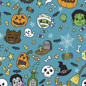 Halloween Doodles on Blue